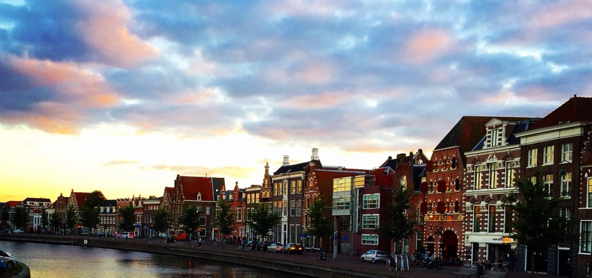 Image of sunset over canal in Haarlem Holland