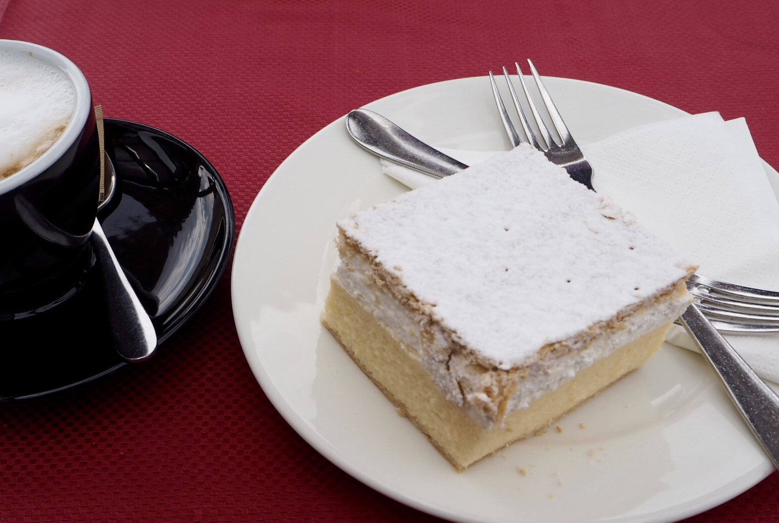 Lake Bled cream cake and coffee