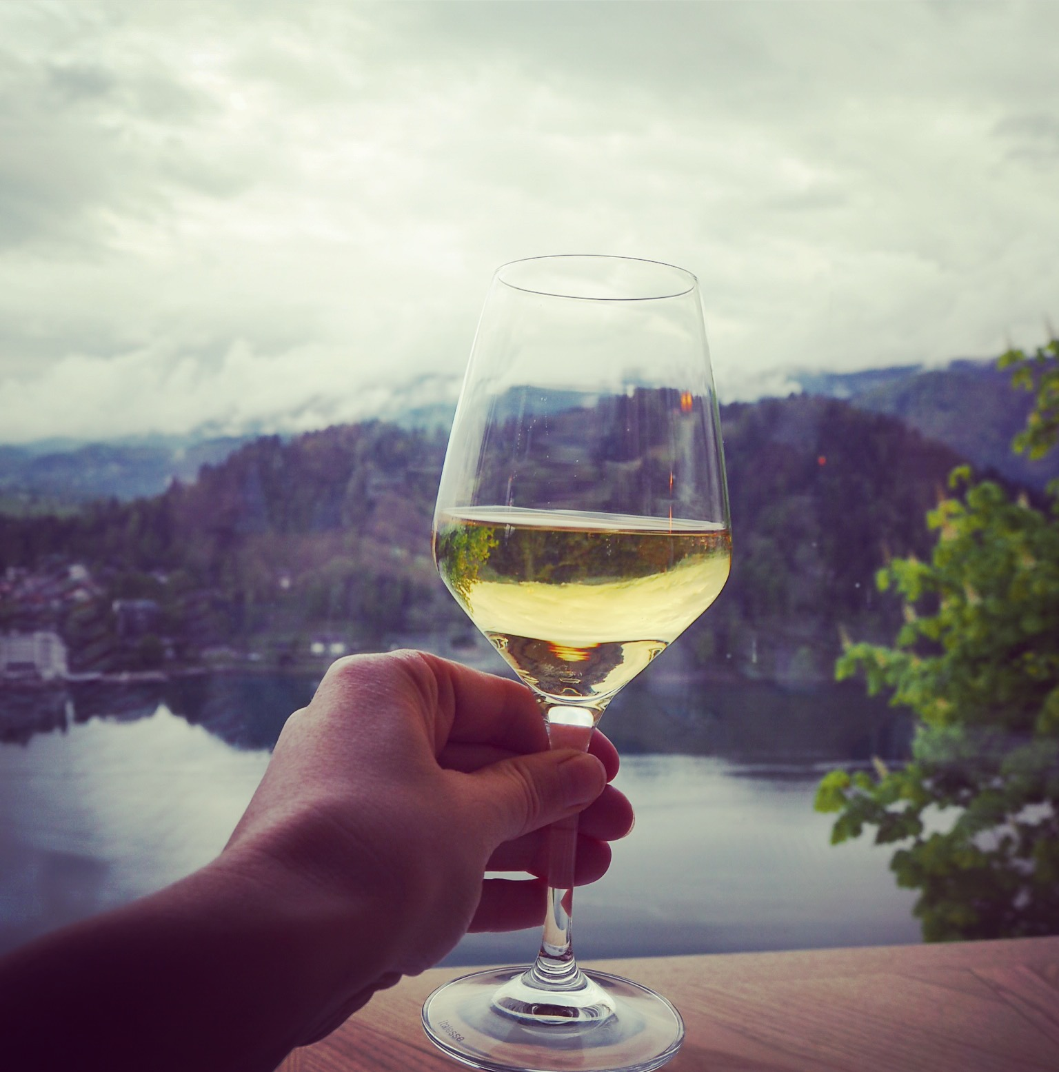 Glass of wine over Lake Bled